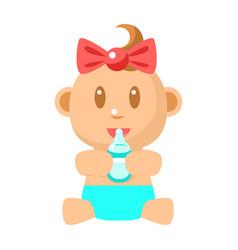 Small happy baby girl sitting holding milk bottle vector