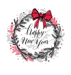 hand drawn new years wreath with red bow and vector image