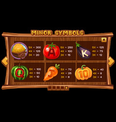 info screen for slot game on wooden background vector image
