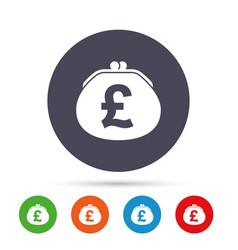 Wallet pound sign icon cash bag symbol vector