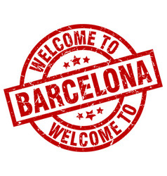 Welcome to barcelona red stamp vector