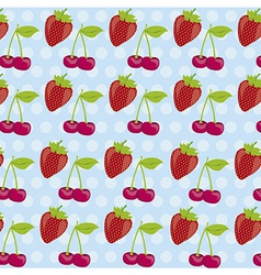Background pattern of cherries and strawberries on vector