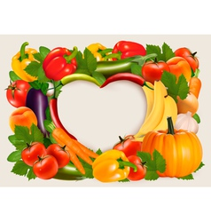 Heart shaped background made of vegetables and vector image