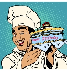 Pastry chef with birthday cake vector