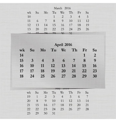 Calendar month for 2016 pages april vector