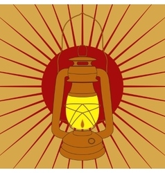 Vintage mine kerosene lamp over red sunrise rays vector