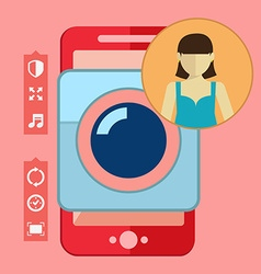 Smartphone camera app selfie icon vector