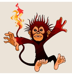 Cartoon monkey fire in flight vector