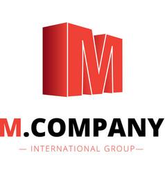 Isometric gradient m letter logo company vector