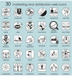 Marketing and distribution web icons vector