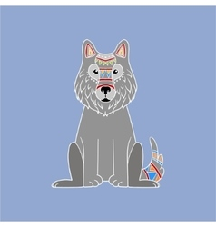 Wolf wearing tribal clothing vector