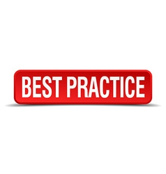 Best practice red three-dimensional square button vector