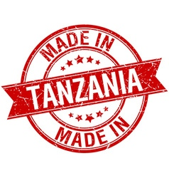 Made in tanzania red round vintage stamp vector