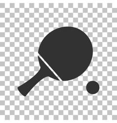 Ping pong paddle with ball dark gray icon on vector