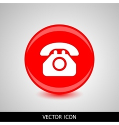 Phone icon white silhouette on a red vector