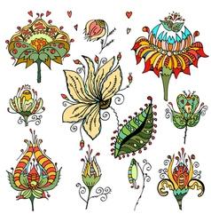 Set of floral bouquets retro flowers vector