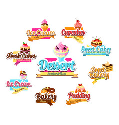 bakery dessert pastry and ice cream symbol set vector image vector image