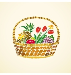 Basket with fruits and flowers vector image vector image