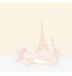 beautiful women silhouette in Paris - card vector image