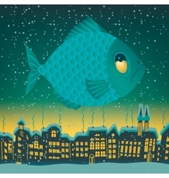 big fish flies through the sky vector image vector image