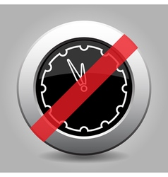 Black metallic button - last minute clock ban icon vector