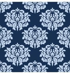 Blue seamless damask pattern vector