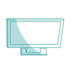 Blue silhouette shading top view desk computer vector