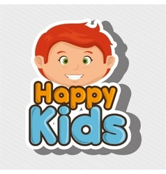 cartoon boy happy kids smile vector image