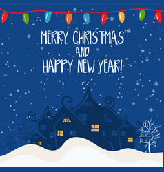 cartoon for holiday theme with house on winter vector image