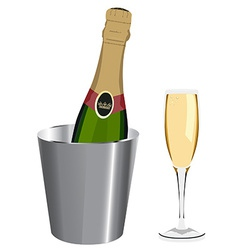 Champagne bottle and glass vector image vector image