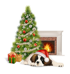 christmas tree dog fireplace vector image