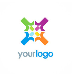 Circle colored diversity logo vector