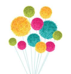 Colorful pom poms bouquet decorative vector