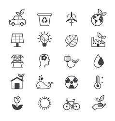 Eco Energy and Environment Icons Line vector image vector image