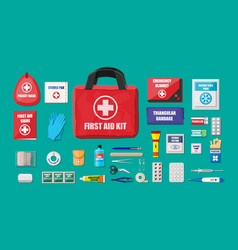 First aid kit with medical equipment vector