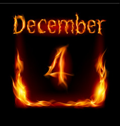 Fourth december in calendar of fire icon on black vector