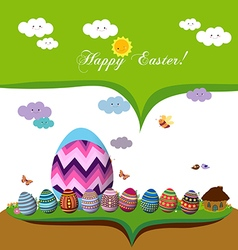 Happy easter spring season background with eggs vector