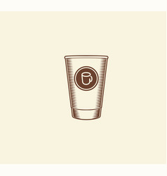 isolated abstract brown color paper coffee cup vector image