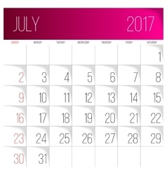 July 2017 calendar template vector