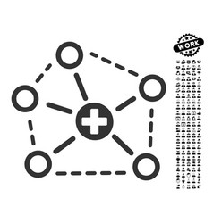Medical network structure icon with work bonus vector