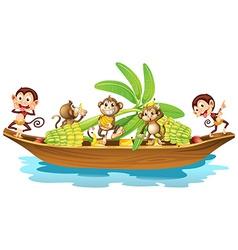 Monkey on boat vector image vector image