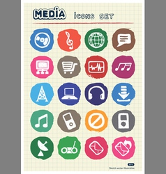 Music and media web icons set drawn by chalk vector