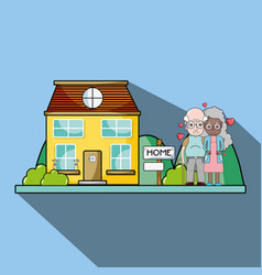 Old couple together next their house with hearts vector