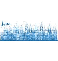Outline lima skyline with blue buildings vector