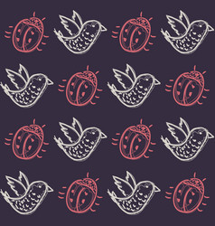 pattern with birds and beetles vector image vector image