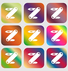 Pocket knife icon sign nine buttons with bright vector