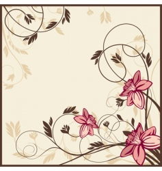 Retro floral card vector
