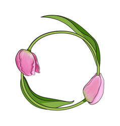 Round frame formed by two tulip flowers place for vector