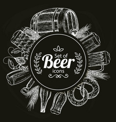 round template with beer icons on black background vector image vector image