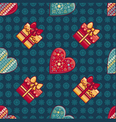 seamless pattern merry christmas toy vector image vector image